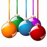 Christmas balls with ribbons