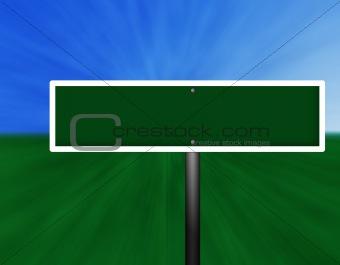 Blank Green Street Sign