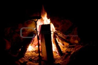 Campfire and Hotdog