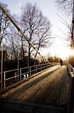 Suspension Bridge on Sunny Day