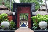 Restaurant entrance - tropical setting.