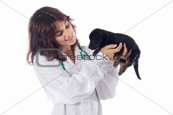 Attractive lady veterinarian