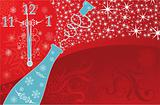 New year's background with clock and sparks of a champagne, vect