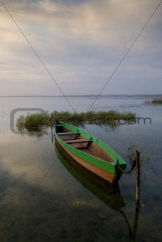 Boat and lake at twilight