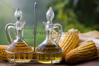 Olive oil and vinegar in pitchers
