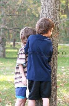 Boys Peeking Around Tree
