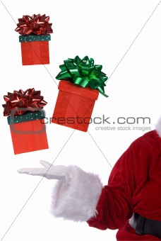 Santa Claus with floating gifts