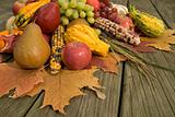 Cornucopia with fall harvest