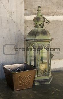 Antique lantern and butterfly box