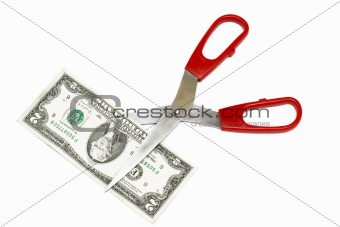 2 Dollar note and scissors isolated