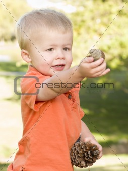 Cute Young Boy Portrait Holding Pine Cones in The Park.