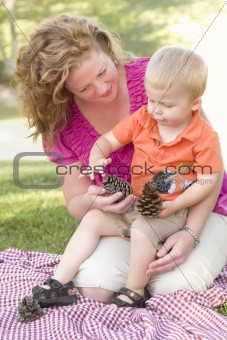 Attractive Mother and Adorable Son Talk about Pine Cones in The Park.