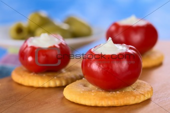 Small Hot Red Pepper Filled with Sour Cream