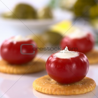 Small Hot Red Pepper Filled with Cream Cheese