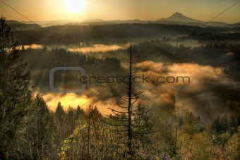 Sunrise Over Mount Hood One Foggy Morning