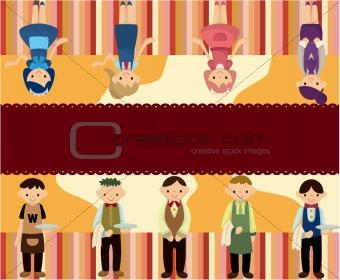 cartoon waiter and waitress card