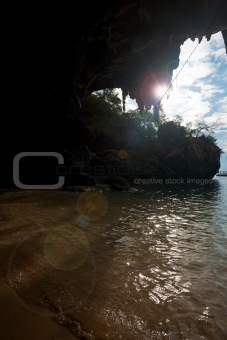 Cave Mouth Ocean Sunburst Phra Nang Railay