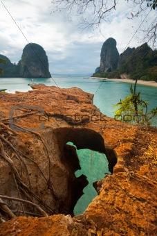 Cliff Top View Phra Nang Beach Karsts