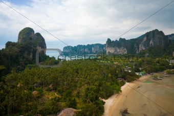 Aerial View Railay Beach Karst Mountains Horizontal