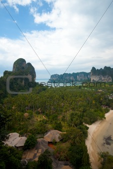 Aerial View Railay Beach Karst Mountains Vertical