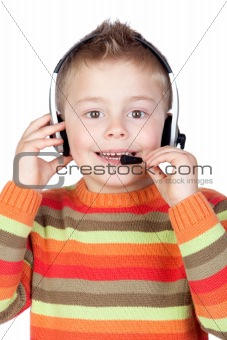Adorable child with headphones
