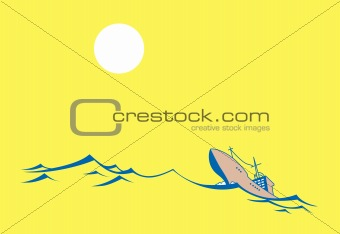 vector silhouette tanker on yellow background