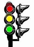 vector silhouette of the traffic light on white background