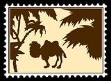 vector silhouette camel on postage stamps