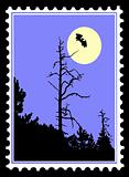 vector silhouette to bat on postage stamps