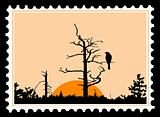 vector silhouette of the bird on tree on postage stamps
