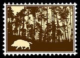 vector silhouette of the wild boar in wood on postage stamps