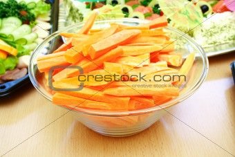Close view of fresh sliced carrots