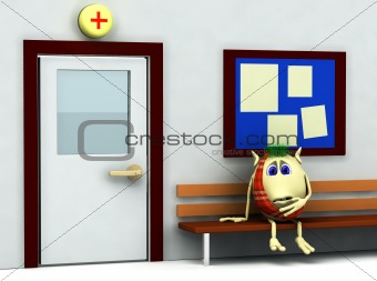 3d character  having teeth pain in hospital