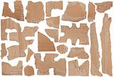 Pieces of torn brown corrugated cardboard