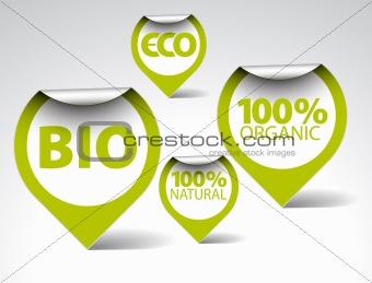 Green tags for organic, natural, eco, bio food
