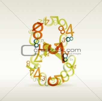 Number eight made from colorful numbers