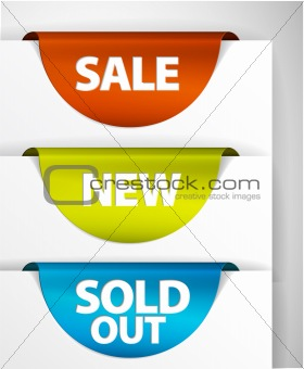 Round Sale / New / Sold out label set