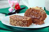 chocolate roulade with chocolate cream on a plate
