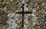 Old cross at grave of 19th century.