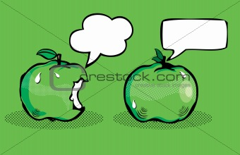 Apple with bubble speech / Fruit in pop art retro style