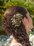 Ornate hair style on a bride