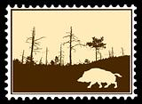 vector silhouette wild boar on postage stamps