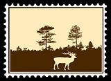vector silhouette deer on postage stamps