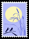 vector silhouette dragonfly on postage stamps