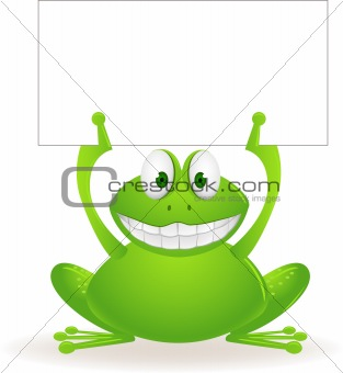 Cute frog and blank sign