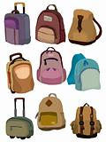cartoon bag set icon