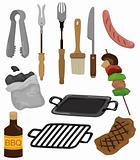 cartoon barbeque party tool set icon