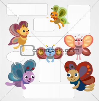 cartoon butterfly card/speech