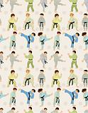 cartoon Karate Player seamless pattern