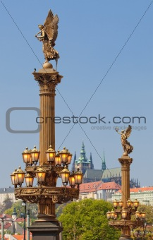 prague - hradcany castle, st. vitus cathedral and lanterns outside Rudolfinum concert hall
